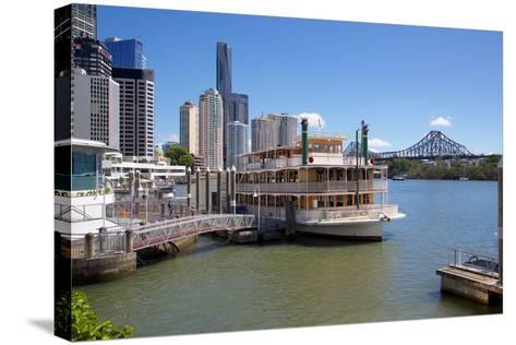 Brisbane River, Story Bridge and City Reach Boardwalk, Brisbane, Queensland, Australia, Oceania-Frank Fell-Stretched Canvas Print