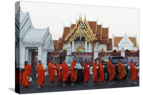 Monks Collecting Morning Alms, the Marble Temple (Wat Benchamabophit), Bangkok, Thailand-Christian Kober-Stretched Canvas Print