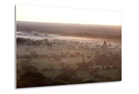Mists from the Nearby Irrawaddy River Floating across Bagan (Pagan), Myanmar (Burma)-Annie Owen-Metal Print