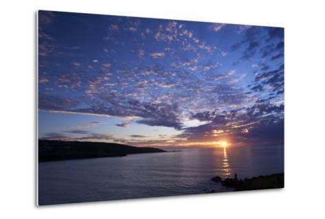 Sunset over Porthmeor Beach in St. Ives, Cornwall, England, United Kingdom, Europe-Peter Barritt-Metal Print