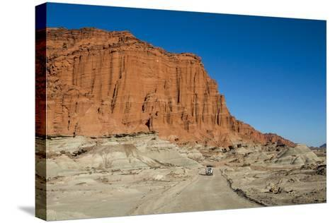 Driving Past Red Los Coloradas Cliff, Argentina-Matthew Williams-Ellis-Stretched Canvas Print