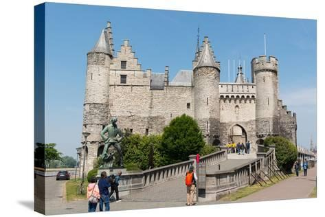 Het Steen, a Medieval Fortress in Antwerp, Belgium, Europe-Carlo Morucchio-Stretched Canvas Print