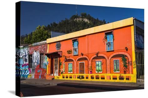 Colourful Buildings in Barrio Bellavista (Bellavista Neighborhood), Santiago Province, Chile-Matthew Williams-Ellis-Stretched Canvas Print