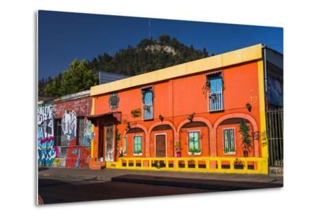Colourful Buildings in Barrio Bellavista (Bellavista Neighborhood), Santiago Province, Chile-Matthew Williams-Ellis-Metal Print