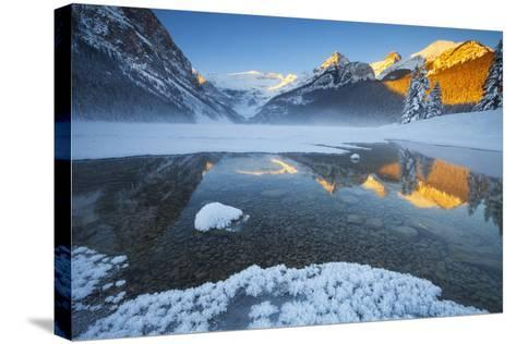 Lake Louise at Sunrise in Winter, Banff National Park, Alberta, Canada, North America-Miles Ertman-Stretched Canvas Print