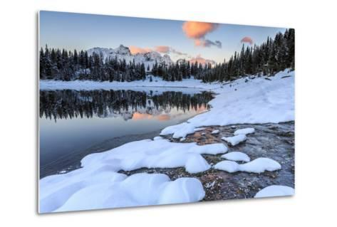Woods and Snowy Peaks are Reflected in Lake Palu at Sunrise, Malenco Valley, Valtellina, Italy-Roberto Moiola-Metal Print