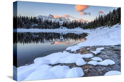 Woods and Snowy Peaks are Reflected in Lake Palu at Sunrise, Malenco Valley, Valtellina, Italy-Roberto Moiola-Stretched Canvas Print