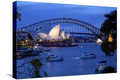 Opera House and Harbour Bridge from Mrs Macquarie's Chair at Dusk, Oceania-Frank Fell-Stretched Canvas Print