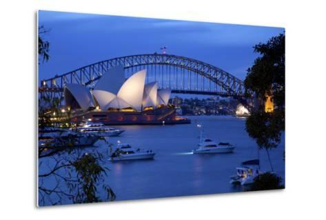 Opera House and Harbour Bridge from Mrs Macquarie's Chair at Dusk, Oceania-Frank Fell-Metal Print