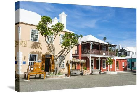 Colonial Houses in the UNESCO World Heritage Site, the Historic Town of St George, Bermuda-Michael Runkel-Stretched Canvas Print