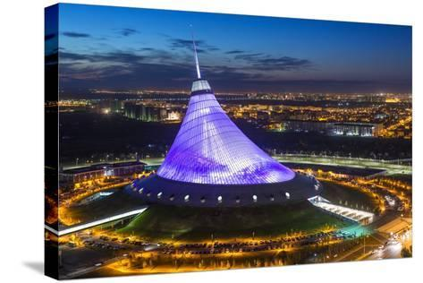 Night View over Khan Shatyr Entertainment Center, Astana, Kazakhstan, Central Asia-Gavin Hellier-Stretched Canvas Print