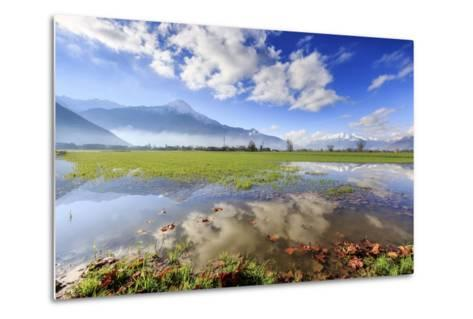 The Natural Reserve of Pian Di Spagna Flooded with Mount Legnone Reflected in the Water, Italy-Roberto Moiola-Metal Print
