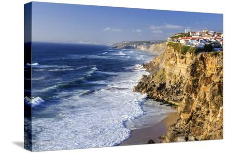 Top View of Ocean Waves Crashing on the High Cliffs of Azenhas Do Mar, Sintra, Portugal, Europe-Roberto Moiola-Stretched Canvas Print