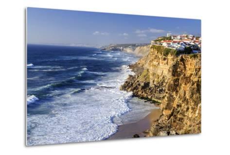 Top View of Ocean Waves Crashing on the High Cliffs of Azenhas Do Mar, Sintra, Portugal, Europe-Roberto Moiola-Metal Print