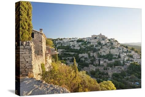 Hilltop Village of Gordes with Castle and Church at Sunrise, Provence-Alpes-Cote D'Azur, France-Markus Lange-Stretched Canvas Print