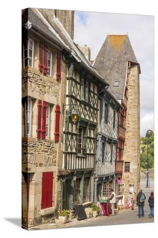 Half Timbered Houses, Old Town, Treguier, Cotes D'Armor, Brittany, France, Europe-Guy Thouvenin-Stretched Canvas Print