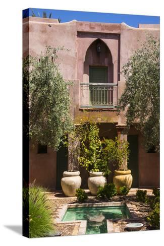 Typical Moroccan Architecture, Riad Adobe Walls, Fountain and Flower Pots, Morocco, Africa-Guy Thouvenin-Stretched Canvas Print