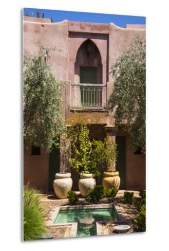 Typical Moroccan Architecture, Riad Adobe Walls, Fountain and Flower Pots, Morocco, Africa-Guy Thouvenin-Metal Print