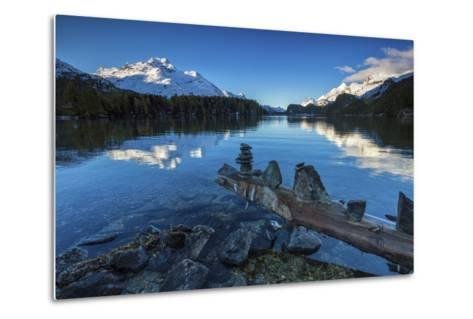 Dawn Illuminates Snowy Peaks and Bell Tower Reflected in Lake Sils, Switzerland-Roberto Moiola-Metal Print