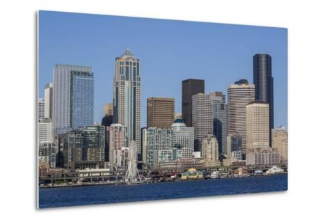 A View from Puget Sound of the Downtown Area of the Seaport City of Seattle, Washington State-Michael Nolan-Metal Print