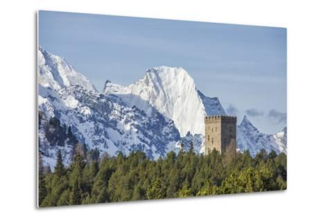 The Belvedere Tower Frames Snowy Peaks and Peak Badile on a Spring Day, Switzerland-Roberto Moiola-Metal Print