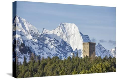 The Belvedere Tower Frames Snowy Peaks and Peak Badile on a Spring Day, Switzerland-Roberto Moiola-Stretched Canvas Print