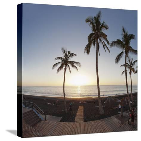 Beach of Puerto Naos at Sunset, La Palma, Canary Islands, Spain, Europe-Markus Lange-Stretched Canvas Print