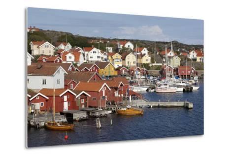 Falu Red Fishermen's Houses in Harbour, Southwest Sweden-Stuart Black-Metal Print