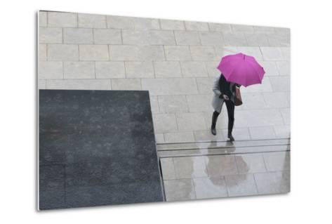 Woman with Umbrella and Mobile Phone Walking Up Steps to Auckland Art Gallery-Nick Servian-Metal Print