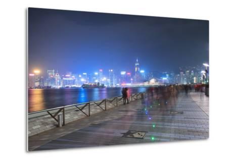 Avenue of Stars at Night, Hong Kong, China, Asia-Andy Brandl-Metal Print