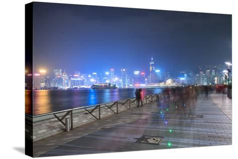Avenue of Stars at Night, Hong Kong, China, Asia-Andy Brandl-Stretched Canvas Print