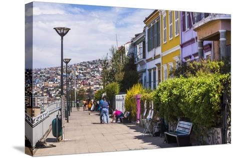 Colourful Houses in Valparaiso, Valparaiso Province, Chile, South America-Matthew Williams-Ellis-Stretched Canvas Print