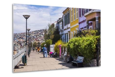 Colourful Houses in Valparaiso, Valparaiso Province, Chile, South America-Matthew Williams-Ellis-Metal Print