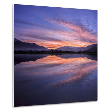 Panoramic View of Pian Di Spagna Flooded with Snowy Peaks Reflected in the Water at Sunset, Italy-Roberto Moiola-Metal Print