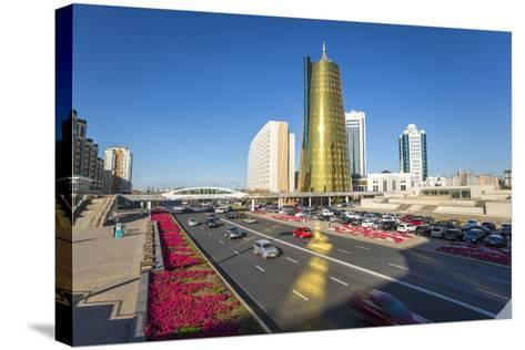 Twin Golden Conical Business Centres, Astana, Kazakhstan, Central Asia-Gavin Hellier-Stretched Canvas Print