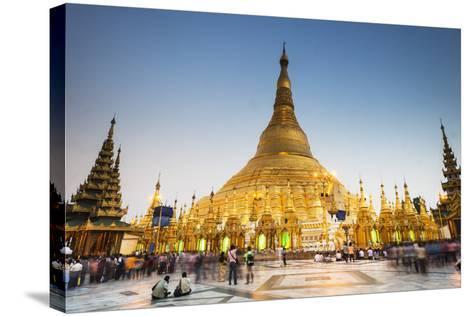 Early Evening at Shwedagon Pagoda, Yangon (Rangoon), Myanmar (Burma), Asia-Jordan Banks-Stretched Canvas Print