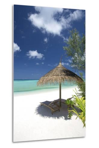 Lounge Chairs under Shade of Umbrella on Tropical Beach, Maldives, Indian Ocean, Asia-Sakis Papadopoulos-Metal Print