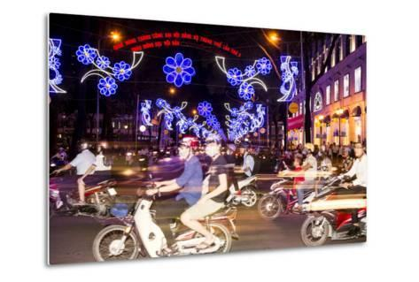 Traffic and Chinese New Year Lights, Ho Chi Minh City, Vietnam, Southeast Asia-Alex Robinson-Metal Print