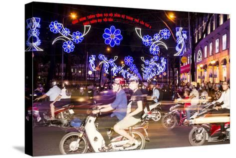 Traffic and Chinese New Year Lights, Ho Chi Minh City, Vietnam, Southeast Asia-Alex Robinson-Stretched Canvas Print
