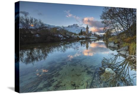 Dawn Illuminates Snowy Peaks and Bell Tower Reflected in Lake Sils, Switzerland-Roberto Moiola-Stretched Canvas Print