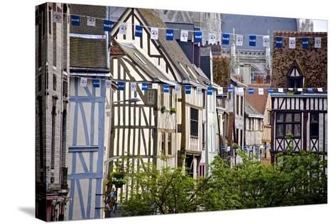 Half Timbered Norman Facades, Rouen, Normandy, France, Europe-Guy Thouvenin-Stretched Canvas Print