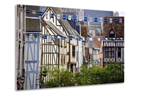Half Timbered Norman Facades, Rouen, Normandy, France, Europe-Guy Thouvenin-Metal Print