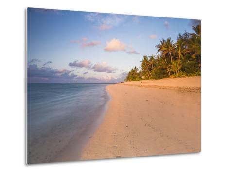 Tropical Beach with Palm Trees at Sunrise, Rarotonga, Cook Islands, South Pacific, Pacific-Matthew Williams-Ellis-Metal Print
