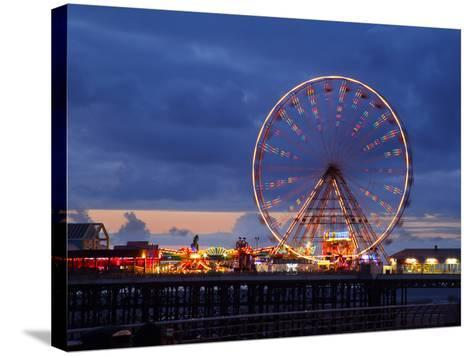 Big Wheel and Funfair on Central Pier Lit at Dusk, England-Rosemary Calvert-Stretched Canvas Print