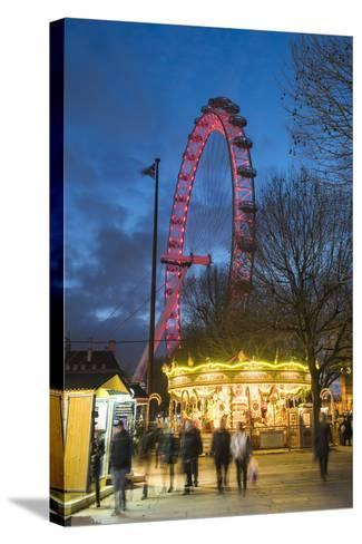 Christmas Market in Jubilee Gardens, with the London Eye at Night, South Bank, London, England-Matthew Williams-Ellis-Stretched Canvas Print
