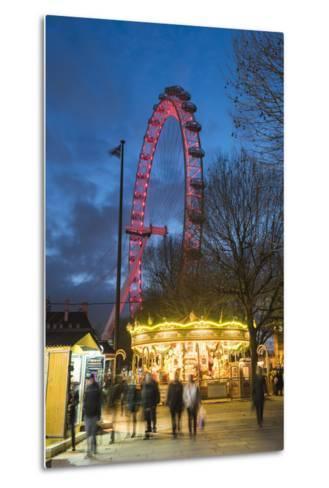 Christmas Market in Jubilee Gardens, with the London Eye at Night, South Bank, London, England-Matthew Williams-Ellis-Metal Print