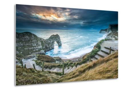 A Winter Sunset at Durdle Door on the Jurassic Coast, Dorset, England, United Kingdom, Europe-John Alexander-Metal Print