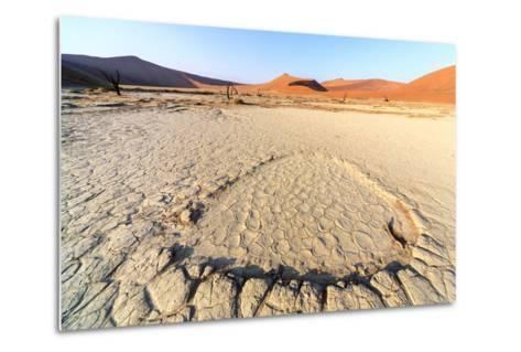 Parched Ground and Dead Acacia Surrounded by Sandy Dunes, Sossusvlei, Namib Naukluft National Park-Roberto Moiola-Metal Print