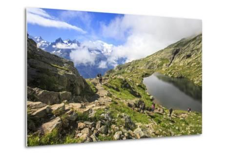 Low Clouds and Mist around Grandes Jorasses While Hikers Proceed on Lac De Cheserys, French Alps-Roberto Moiola-Metal Print