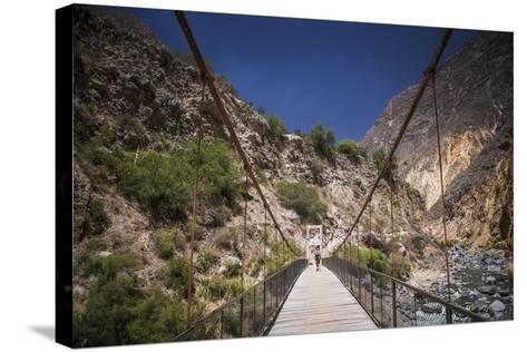 People Trekking over Colca River Bridge, Colca Canyon, Peru, South America-Matthew Williams-Ellis-Stretched Canvas Print